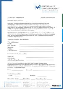 Downloads Kundenstammblatt